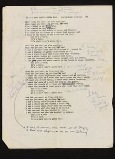 Bob Dylan early draft for A Hard Rain's a-Gonna Fall shows telling changes Bob Dylan Quotes, Bob Dylan Lyrics, Bob Music, Bujo, Jazz, Fall Words, Americana Music, Fall Shows, Things To Do With Boys