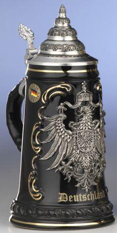German Beer Stein Black Deutschland Pewter EAG Ki 415 SZA 0 5L Deutschland New   eBay