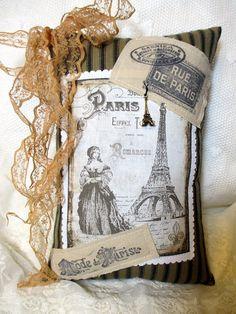 Tea dyed PARIS Sachet French Script Sachet by ThePeonyShanty