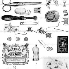 Vintage Sewing Digital Collage Sheet Scrapbook Needle Thread Logo Clip Art Journal Tags