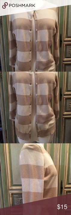 Selling this THE LIMITED Cream Khaki Striped Cardigan Large on Poshmark! My username is: victaggie. #shopmycloset #poshmark #fashion #shopping #style #forsale #The Limited #Sweaters