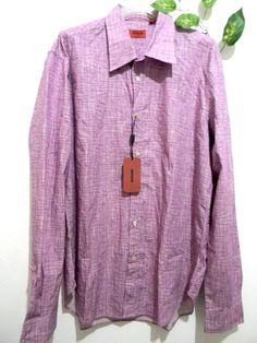 Missoni Mens Purple White Shirt Button Down Italian Blouse Size XL 54 NEW! #Missoni #ButtonFront