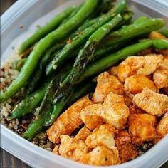 Meal Prep Baked Lime Chicken Bowls - Chicken breasts are cubed and marinated in a chili-lime marinade and then baked and paired with quinoa and green beans.