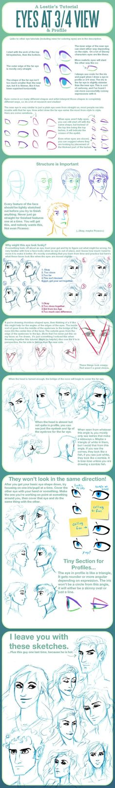 Eye Tutorial at 3/4 View and Profile by lostie815 on deviantART by Bali