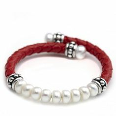 Honora Pearl & Leather Cuff Bracelet Sterling Silver - I have this in black. Love it!