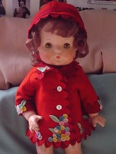 EFFANBEE USED VINTAGE COMPOSITION PATSY DOLL IN RARE RED FELT BALLOON COAT&CAP!