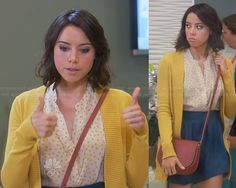 WornOnTV: April's yellow dot print top, blue skirt and yellow cardigan on Parks and Recreation | Aubrey Plaza | Clothes and Wardrobe from TV