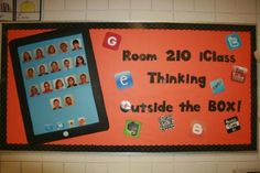 """An iPad where the students are the """"apps"""". Blow up app icons of different programs we will be using this year to add to the board."""