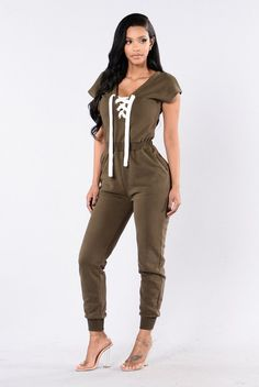 - Available in Olive - Lace Up Shoestring - Short Sleeve - Over Sized Thick Jumpsuit - 56% Cotton, 44% Polyester