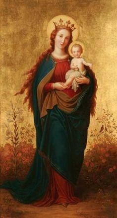 Nossa Senhora e Jesus, o Príncipe da Paz (olhem o detalhe dos cabelos compridos de Maria). Simplesmente linda estampa!