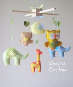 baby mobile animals Mobile forest Mobile zoo by lovefeltmobiles