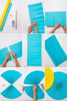 Giant Paper Fans (Oh Happy Day!) - Samantha Fernandez Giant Paper Fans (Oh Happy Day!) Giant Paper F Paper Flowers Diy, Diy Paper, Paper Crafts, Origami Flowers, Diy Crafts, Paper Party Decorations, Diy Birthday Decorations, Rainbow Paper, Graduation Diy