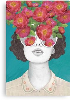 The optimist // rose tinted glasses Canvas Print