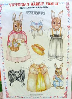Vintage Rabbit Paper Dolls Embossed Victorian by LulusFiveandDime.