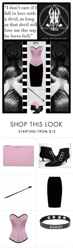 """""""Goth Pikes (44)"""" by irresistible-livingdeadgirl ❤ liked on Polyvore featuring Givenchy, Kiki de Montparnasse, Jupe By Jackie, GET LOST, Boots, goth, corset, velvet and devil"""