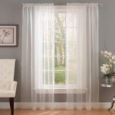 Waverly Framework Burnout Curtain Panel - Ivory (52''X16'')