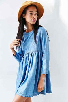 BDG Blue Jean Babydoll Dress - Urban Outfitters