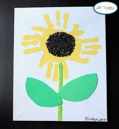 Sunflower Art, I do something similar for mothers day, but I paint their palms brown and they paint a stem and leaves
