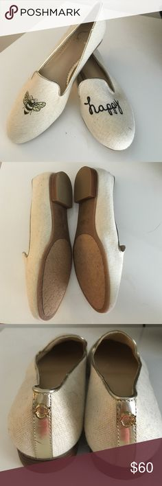 """C Wonder """"Bee Happy"""" Loafers NWOT 7 1/2 Super cute C Wonder Bee Happy loafers. Size 7 1/2 Never worn. Slight discoloration from storage please see pics. Beautiful embroidery of """"bee happy"""". C Wonder emblem on heel. So sad this company closed! C Wonder Shoes Flats & Loafers"""