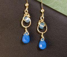 Blue Gemstone Small Dangle Teardrop by LeesEarringBoutique on Etsy