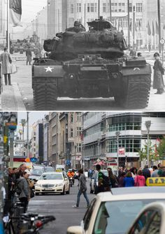 US tanks at Checkpoint Charlie on Friedrichstraße in October 1961, shortly after the Wall was constructed.The Berlin Wall: Photos of then and now The Local