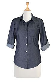 Denim chambray cotton shirt Get Super Saving discounts at eShakti with Coupon and Promo Codes.
