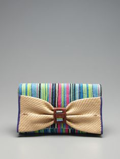 Nanette Lepore Striped Linen Convertible Clutch