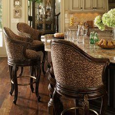 Marge Carson Barstools Anything Leopard~sandra de~Interior Design~ Home Bar Furniture, Furniture Ideas, Tuscan Furniture, Interior Decorating, Interior Design, Decorating Ideas, Bar Stools, Bar Chairs, Counter Stools