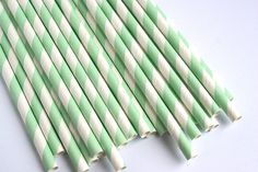 Mint Striped Straws / Party Straws Mint Green / Retro Paper Straws