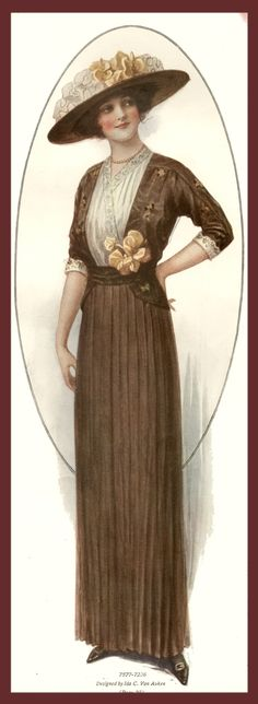 1913 brown dress bodice