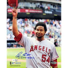Ervin Santana Angels Road Jersey Salute To The Crowd Vertical 8x10 Photo w/' No Hitter, 7/27/11' Insc (MLB Auth)