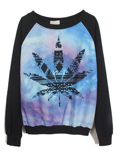 Black Long Sleeve Galaxy Maple Leaf Print Sweatshirt US$27.87