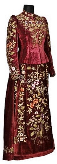 Armenian silk velvet dress (skirt + vest). From Arapkir (in the North of the Malatya province), 1880. Embroidered with silk and metal thread. (History Museum of Armenia, Yerevan).