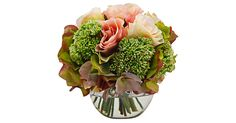 A soft and romantic touch for any room, this bouquet is full of lifelike silk roses housed in a simple glass vase.