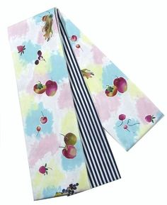 Motif of fruits on vintage Nagoya obi was mixed with the pop and modern design