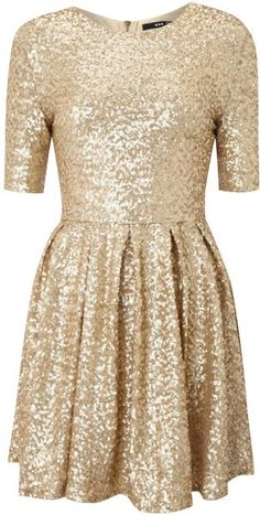 Tfnc Gold Fit and Flare Sequin Dress