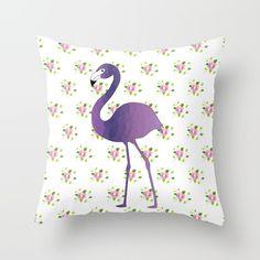 Flamingo On Floral Throw Pillow