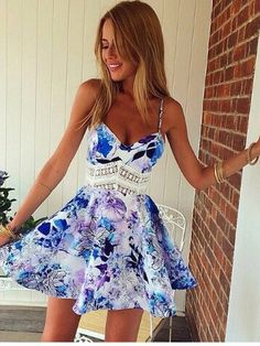 Sexy Women Ladies Backless Floral Summer Beach Dress Mini Bodycon Dresses