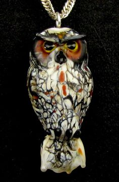 Mahusay Lampwork Owl Pendant  Great Horned door BethKnappTyner