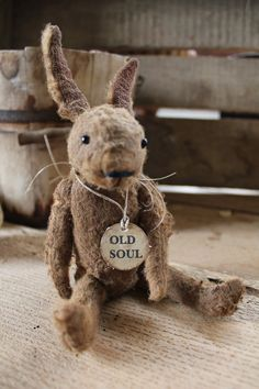 Such a charming little rabbit ! Handmade by me ,aged and distressed. Sits 6 '' high to the tip of his ears. SOLD