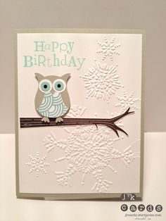 Stampin' Up!, Snowy Owl Birthday, Take Care, Wacky Wishes, Northern Flurry Embossing Folder, Owl Builder Punch, Sycamore Street DSP