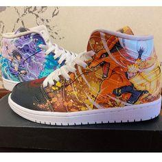 Naruto Air Jordan 1 Sneakers Hand Painted Shoes Painted Canvas Shoes, Hand Painted Shoes, Painting Shoes, Custom Jordans, Unique Christmas Gifts, On Shoes, Jordan 1, Air Jordans, Naruto