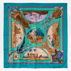 "HERMES Silk Scarf 90 x 90 cm ""Chasses Exotiques"" in Turquoise"