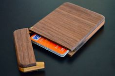 Wooden wallet or business card holder.