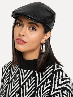 SHEIN offers Plain PU Golf Hat   more to fit your fashionable needs. 06a95740156