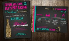 Glam Bachelorette Party Invitation Two-Sided by RichPaperDesigns
