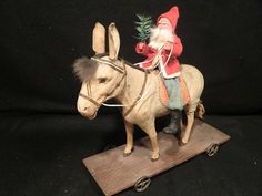 "Large Victorian 13"" German Pull Toy Santa Riding A Squeaker Donkey with Dresden 