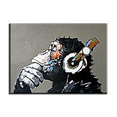 【今だけ☆送料無料】 アートパネル  動物画1枚で1セット モンキー 猿 ヘッドフォン 考える【納期】お取り寄せ2~3週間前後で発送予定
