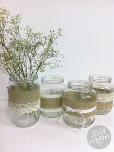 These would be so cute for decoration! Home Crafts, Diy Home Decor, Diy And Crafts, Mason Jar Crafts, Mason Jars, Deco Champetre, Christmas Swags, Happy B Day, Glass Jars