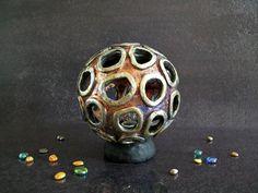 coral Raku pottery Lamp, ceramic lamp, table lamp, desk lamp, bed side lamp, design lamp, ambient light, art deco lamp, decorative lamp